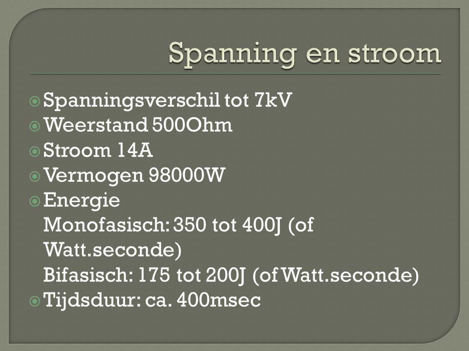  Spanningsverschil tot 7kV  Weerstand 500Ohm  Stroom 14A  Vermogen 98000W  Energie Monofasisch: 350 tot 400J (of Watt.seconde) Bifasisch: 175 tot 200J (of Watt.seconde)  Tijdsduur: ca.