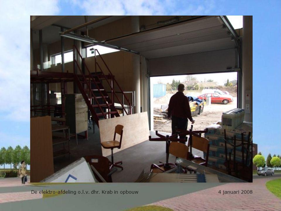 De werkplekken elektro worden met de leerlingen ingericht 4 januari 2008