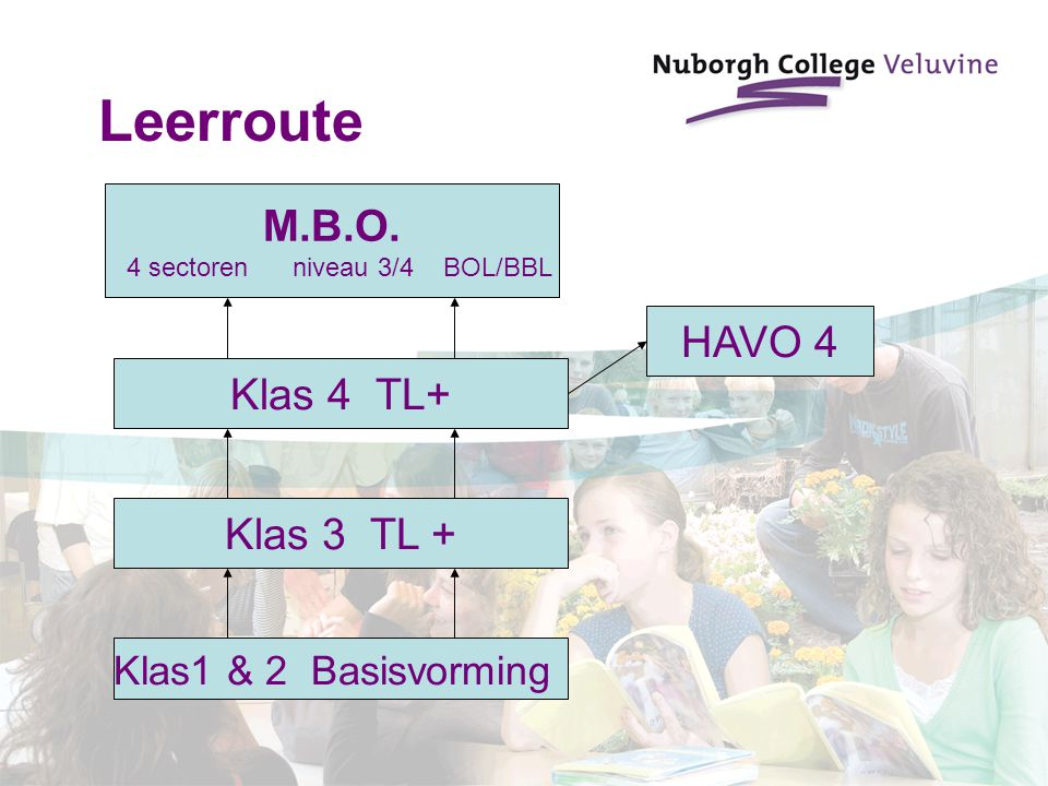 Klas1 & 2 Basisvorming M.B.O. 4 sectoren niveau 3/4 BOL/BBL Klas 4 TL+ HAVO 4 Klas 3 TL + Leerroute