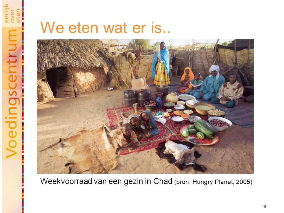 10 We eten wat er is.. Weekvoorraad van een gezin in Chad (bron: Hungry Planet, 2005)