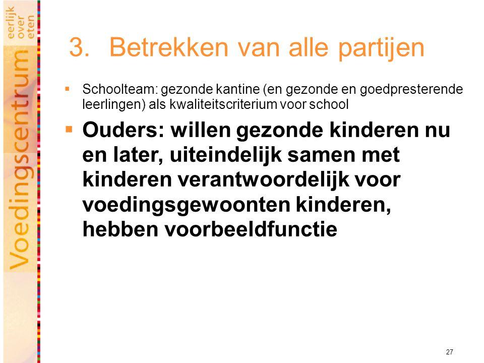 27 3.Betrekken van alle partijen  Schoolteam: gezonde kantine (en gezonde en goedpresterende leerlingen) als kwaliteitscriterium voor school  Ouders