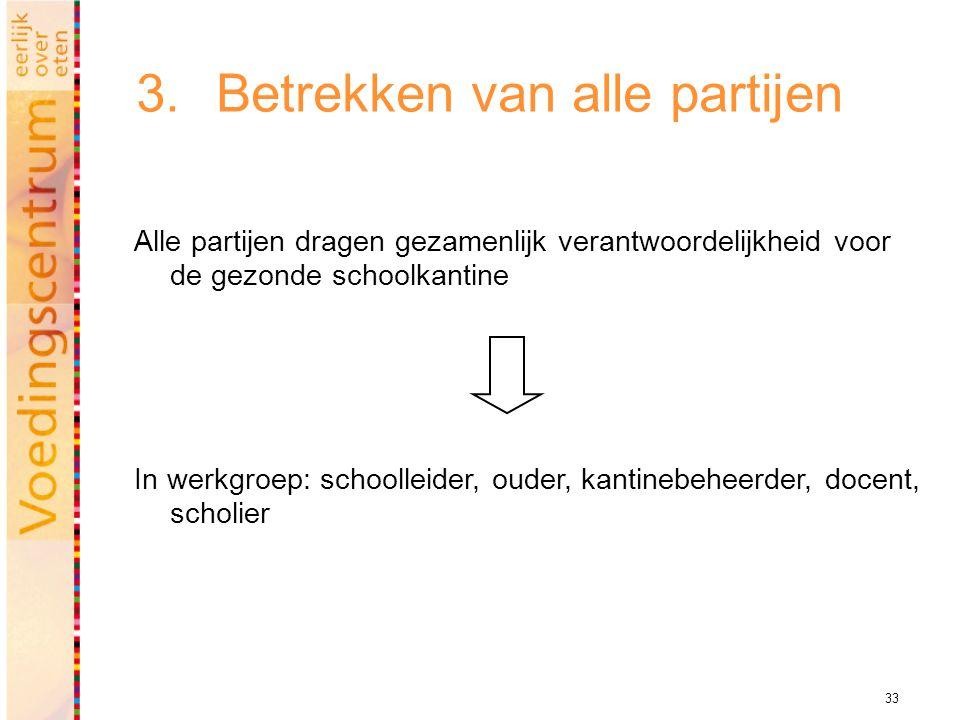 33 3.Betrekken van alle partijen Alle partijen dragen gezamenlijk verantwoordelijkheid voor de gezonde schoolkantine In werkgroep: schoolleider, ouder