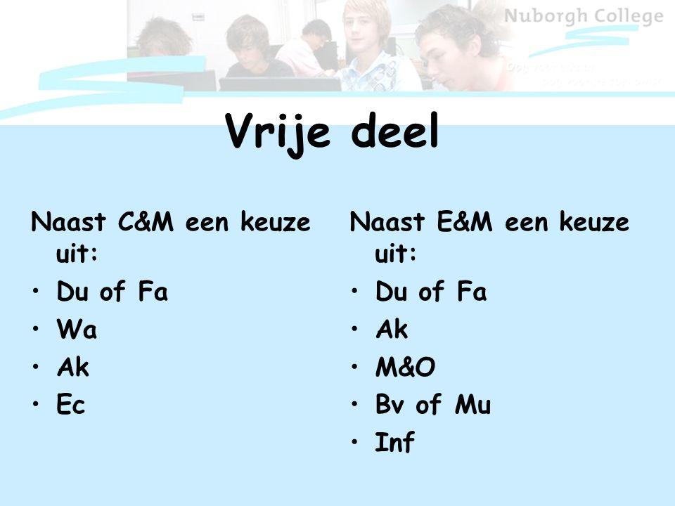 Vrije deel Naast C&M een keuze uit: Du of Fa Wa Ak Ec Naast E&M een keuze uit: Du of Fa Ak M&O Bv of Mu Inf