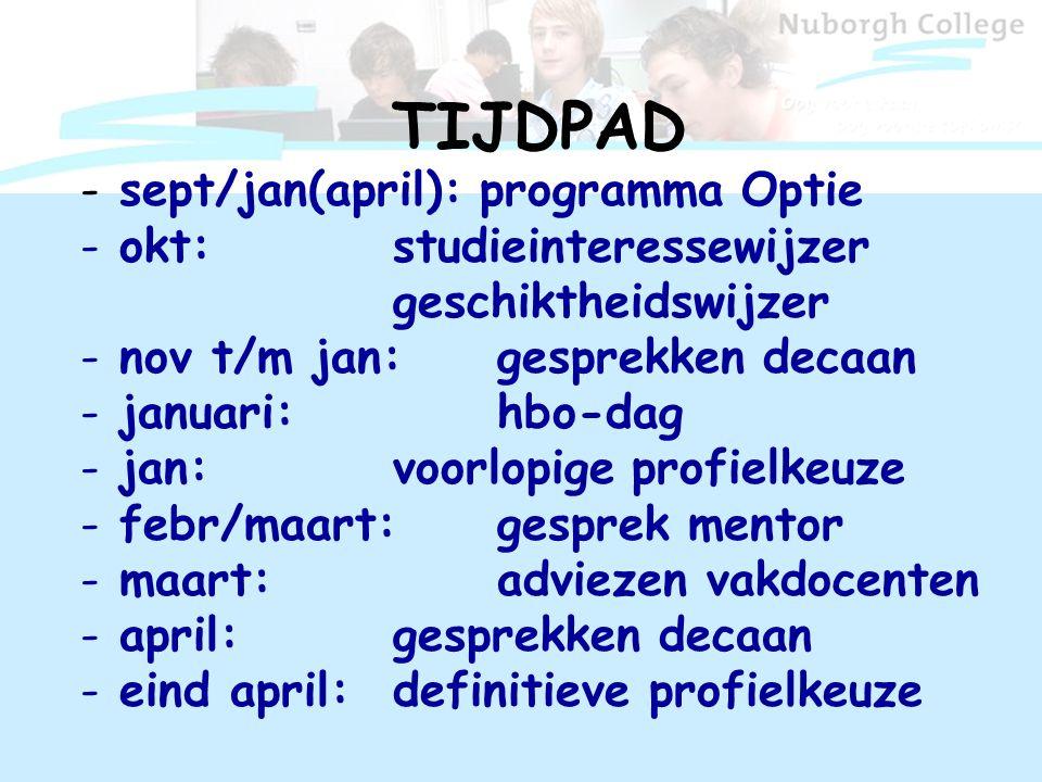 TIJDPAD - sept/jan(april): programma Optie - okt: studieinteressewijzer geschiktheidswijzer - nov t/m jan: gesprekken decaan - januari: hbo-dag - jan: voorlopige profielkeuze - febr/maart: gesprek mentor - maart: adviezen vakdocenten - april: gesprekken decaan - eind april: definitieve profielkeuze