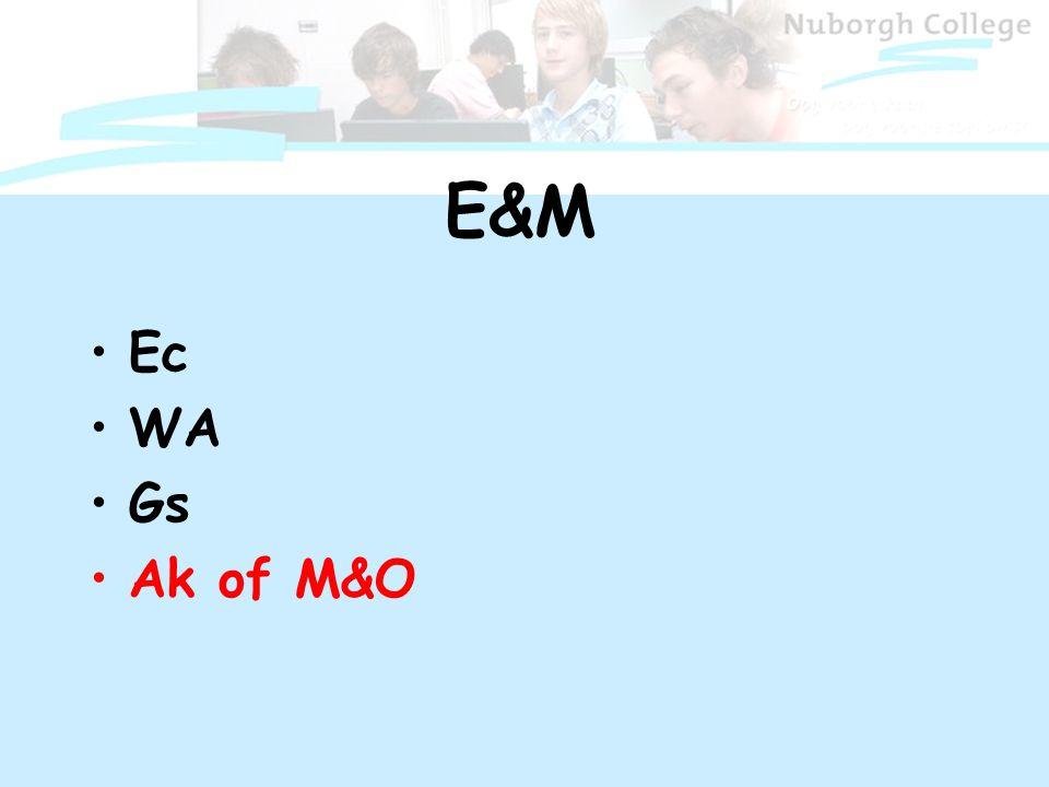E&M Ec WA Gs Ak of M&O