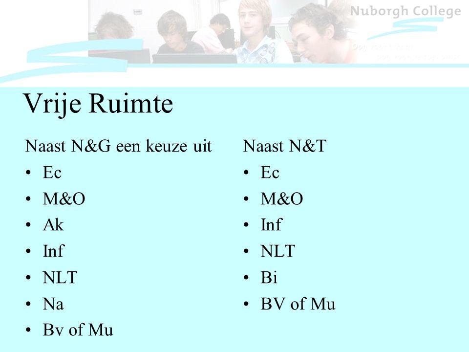 Vrije Ruimte Naast N&G een keuze uit Ec M&O Ak Inf NLT Na Bv of Mu Naast N&T Ec M&O Inf NLT Bi BV of Mu