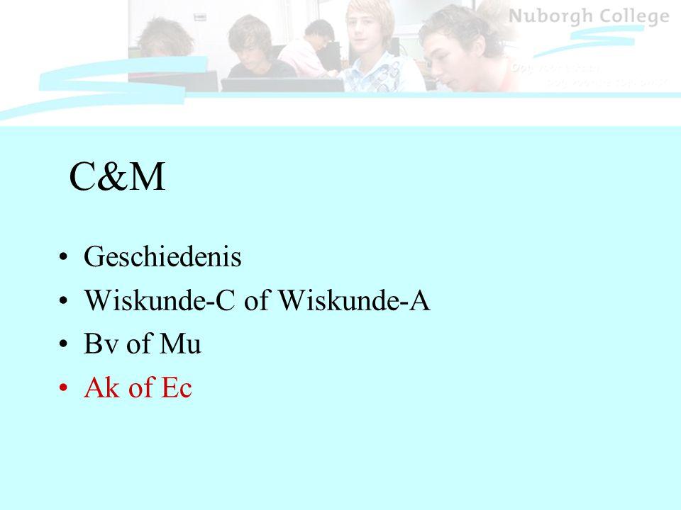 C&M Geschiedenis Wiskunde-C of Wiskunde-A Bv of Mu Ak of Ec