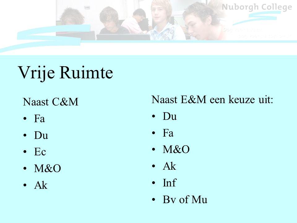 Vrije Ruimte Naast C&M Fa Du Ec M&O Ak Naast E&M een keuze uit: Du Fa M&O Ak Inf Bv of Mu