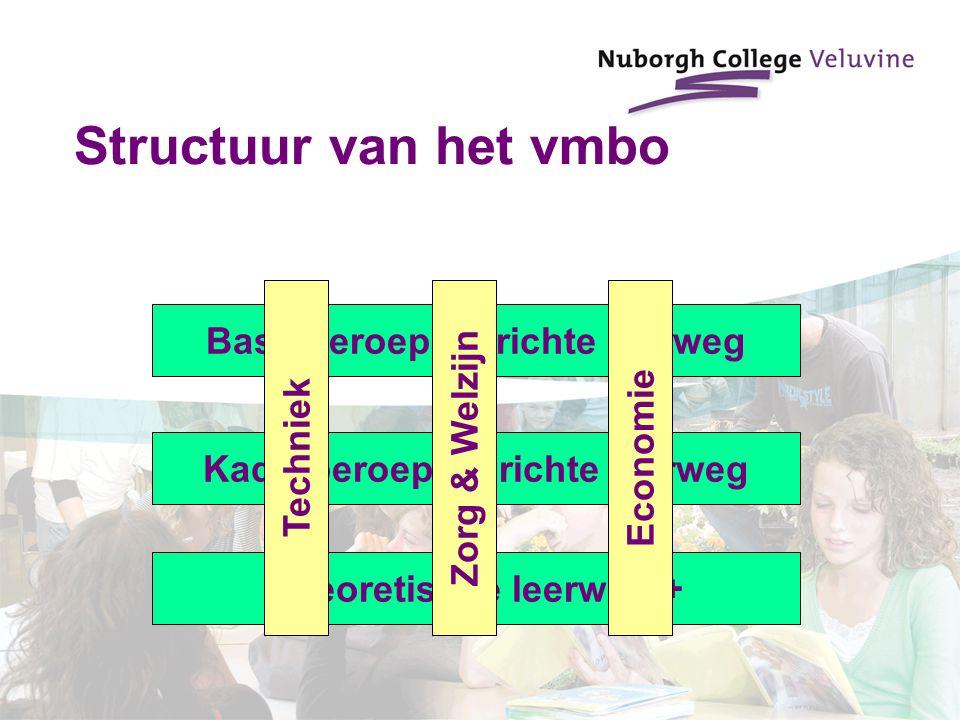 Structuur van het vmbo Basisberoepsgerichte leerweg Kaderberoepsgerichte leerweg Theoretische leerweg + EconomieTechniekZorg & Welzijn