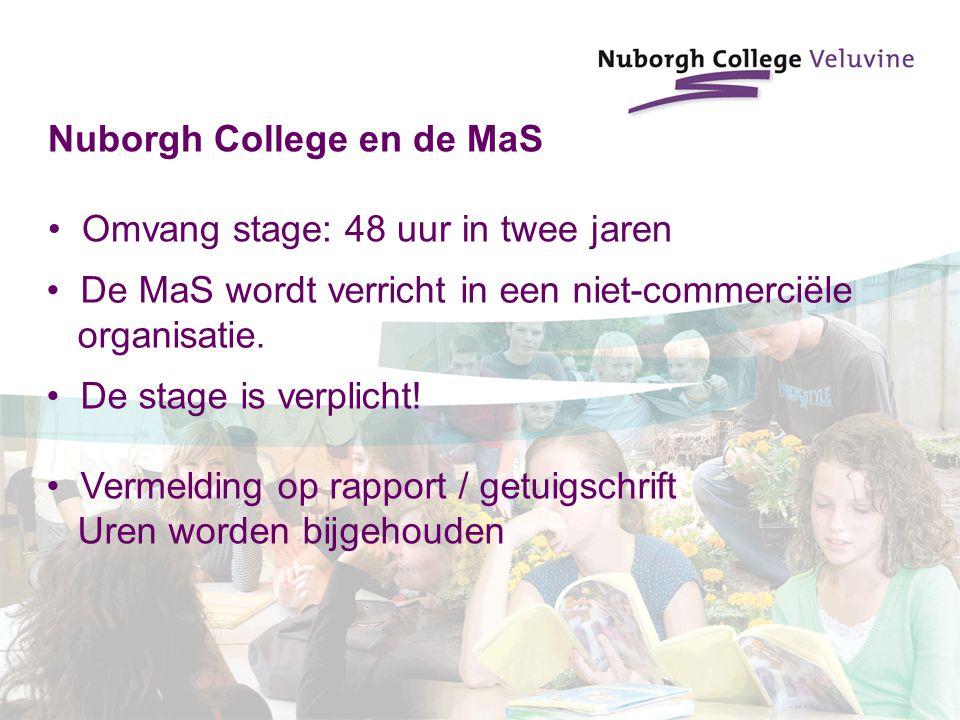 Nuborgh College en de MaS Omvang stage: 48 uur in twee jaren De MaS wordt verricht in een niet-commerciële organisatie. De stage is verplicht! Vermeld