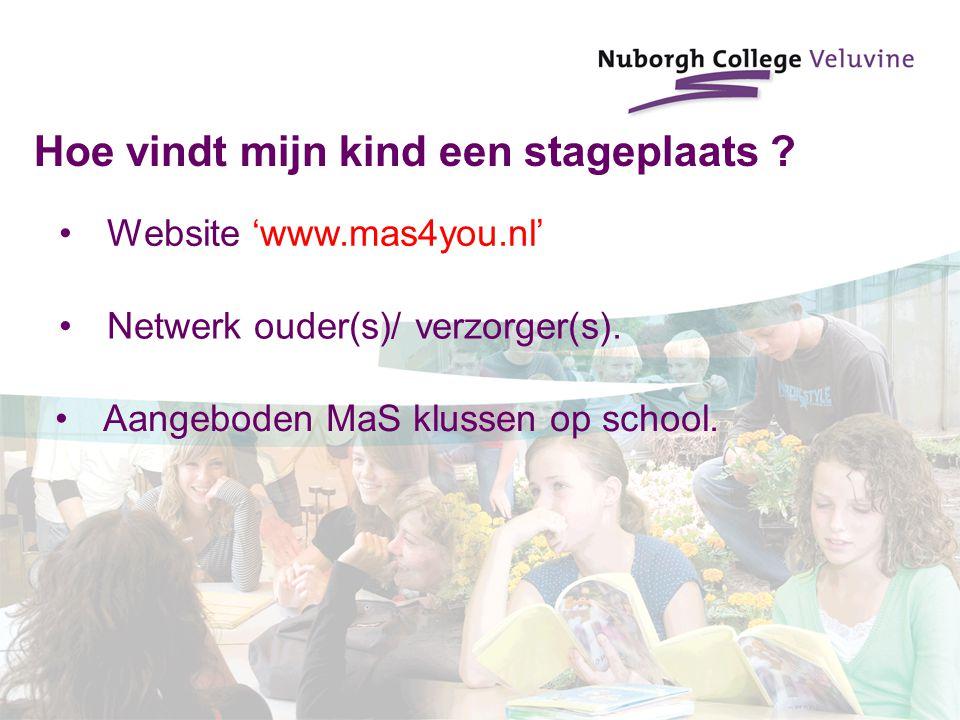Hoe vindt mijn kind een stageplaats ? Website 'www.mas4you.nl' Netwerk ouder(s)/ verzorger(s). Aangeboden MaS klussen op school.