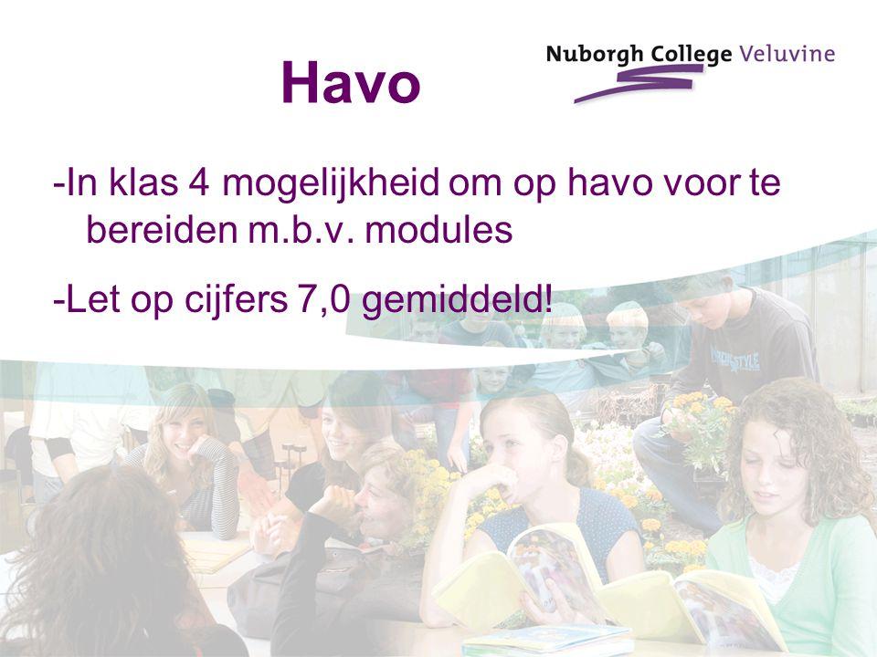 Havo -In klas 4 mogelijkheid om op havo voor te bereiden m.b.v. modules -Let op cijfers 7,0 gemiddeld!