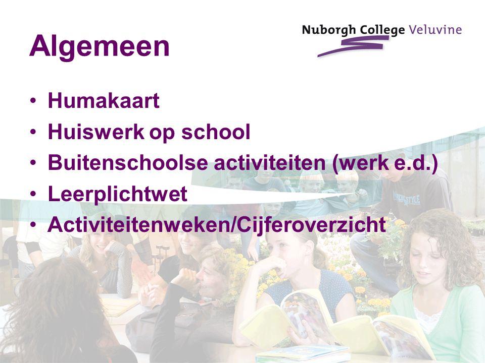 Algemeen Humakaart Huiswerk op school Buitenschoolse activiteiten (werk e.d.) Leerplichtwet Activiteitenweken/Cijferoverzicht