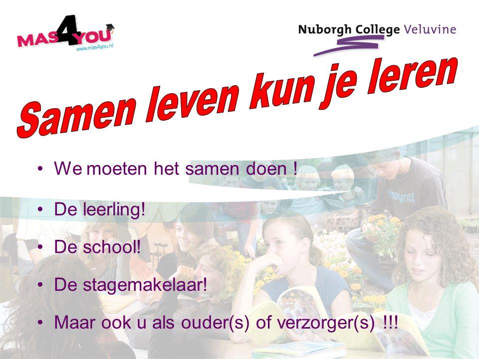 We moeten het samen doen ! De school! Maar ook u als ouder(s) of verzorger(s) !!! De leerling! De stagemakelaar!