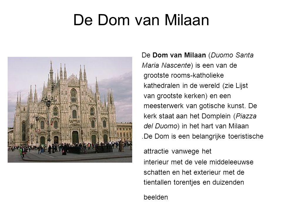 De Dom van Milaan De Dom van Milaan (Duomo Santa Maria Nascente) is een van de grootste rooms-katholieke kathedralen in de wereld (zie Lijst van grootste kerken) en een meesterwerk van gotische kunst.