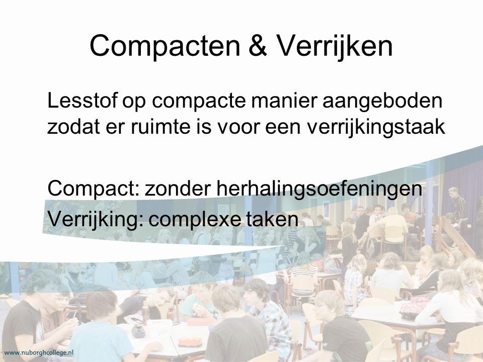 Compacten & Verrijken Lesstof op compacte manier aangeboden zodat er ruimte is voor een verrijkingstaak Compact: zonder herhalingsoefeningen Verrijking: complexe taken