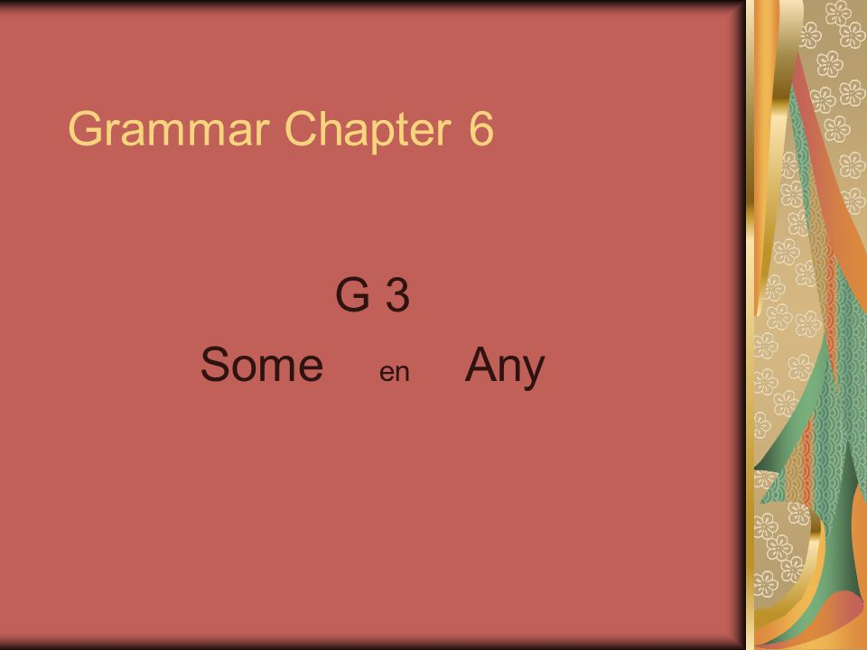 Grammar Chapter 6 G 3 Some en Any