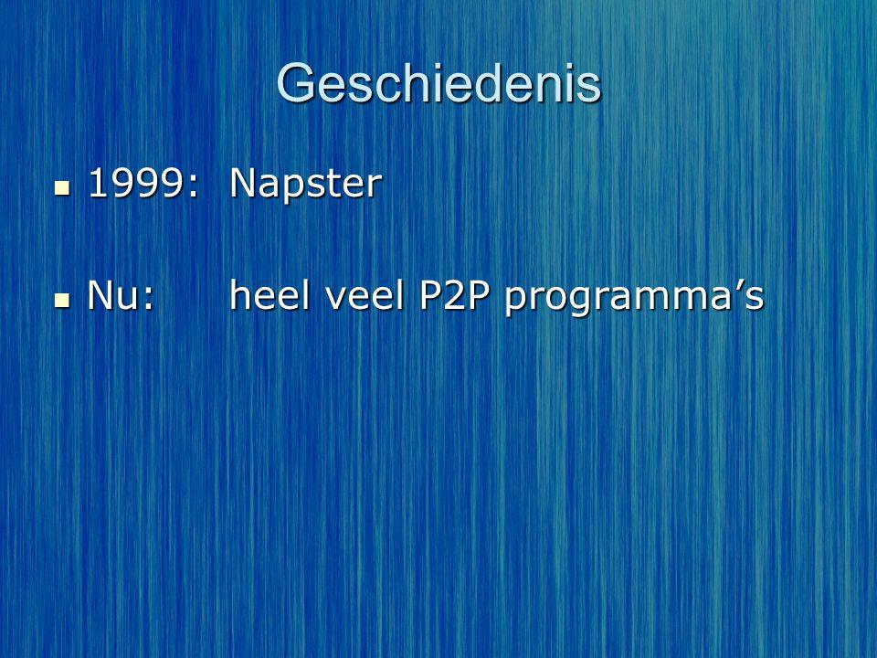 Geschiedenis 1999:Napster 1999:Napster Nu:heel veel P2P programma's Nu:heel veel P2P programma's