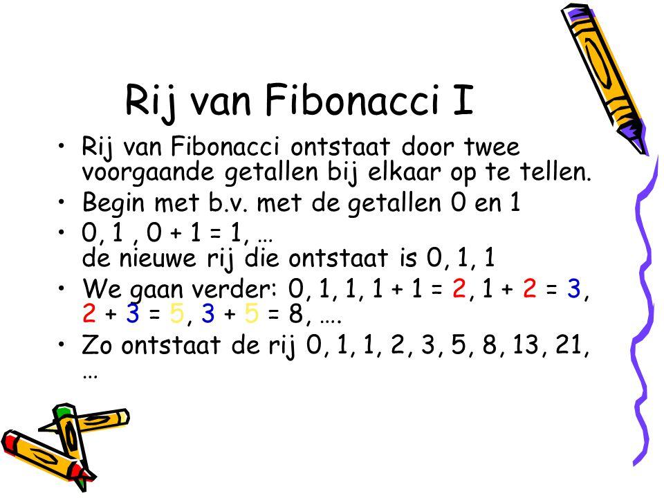 Rij van Fibonacci I Rij van Fibonacci ontstaat door twee voorgaande getallen bij elkaar op te tellen.