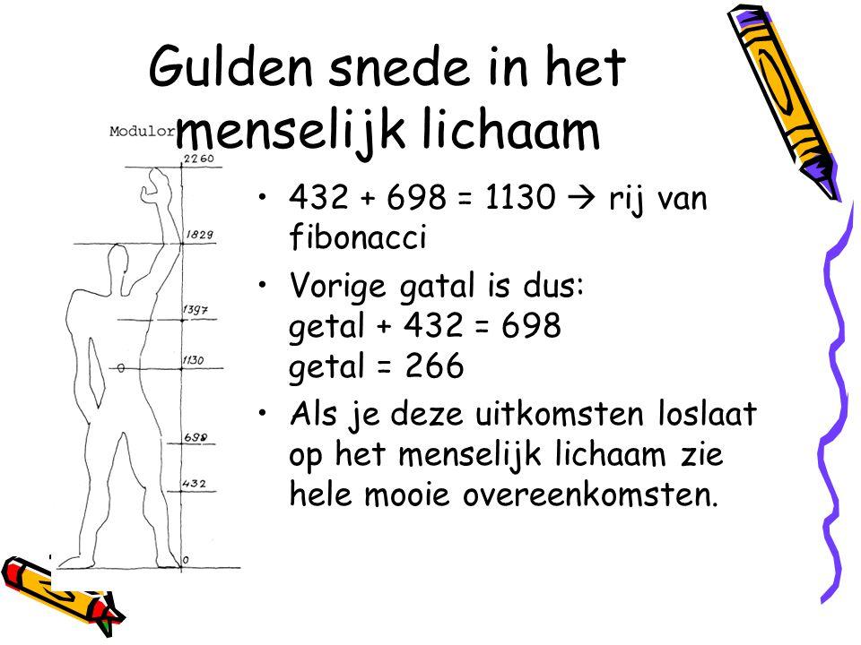 Gulden snede in het menselijk lichaam 432 + 698 = 1130  rij van fibonacci Vorige gatal is dus: getal + 432 = 698 getal = 266 Als je deze uitkomsten loslaat op het menselijk lichaam zie hele mooie overeenkomsten.