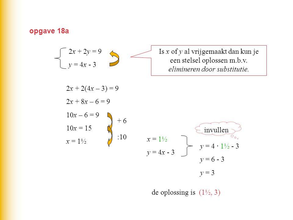 opgave 18a Is x of y al vrijgemaakt dan kun je een stelsel oplossen m.b.v. elimineren door substitutie. 2x + 2y = 9 y = 4x - 3 2x + 2(4x – 3) = 9 2x +