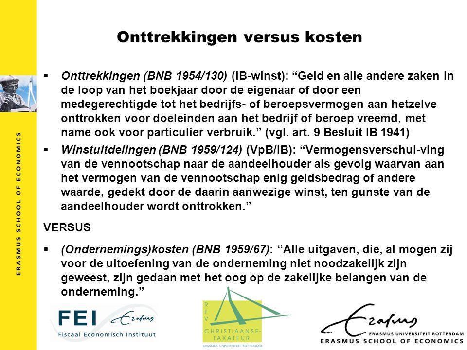 """Onttrekkingen versus kosten  Onttrekkingen (BNB 1954/130) (IB-winst): """"Geld en alle andere zaken in de loop van het boekjaar door de eigenaar of door"""