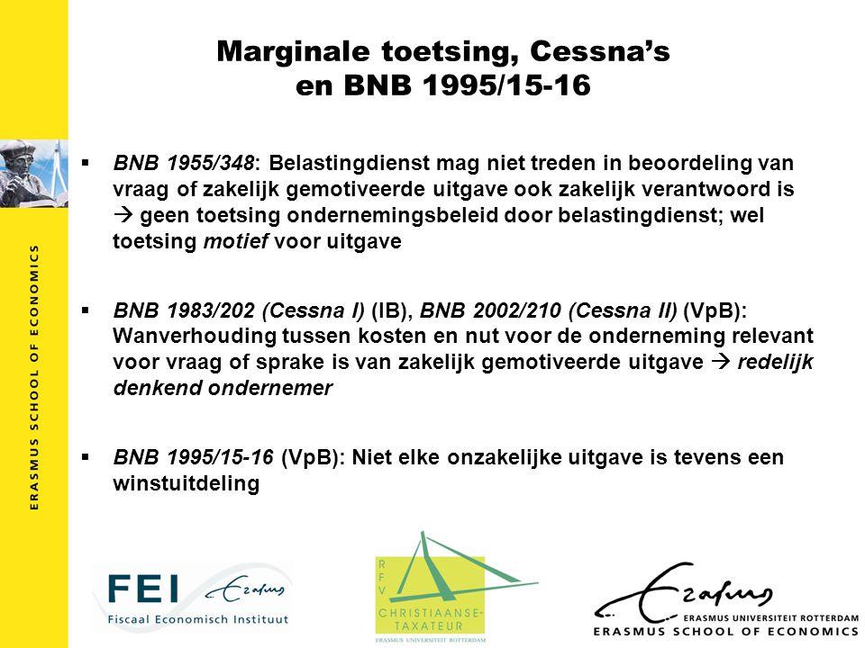 Marginale toetsing, Cessna's en BNB 1995/15-16  BNB 1955/348: Belastingdienst mag niet treden in beoordeling van vraag of zakelijk gemotiveerde uitga