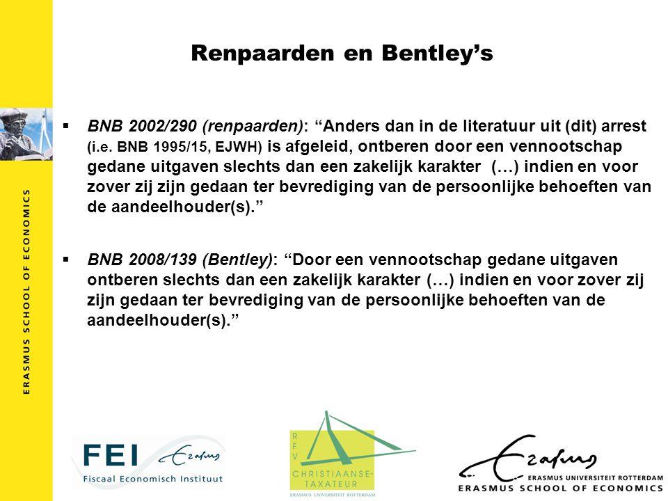 Ook nog: Samenhang tussen IB en VpB  Geen aftrek van uitgaven/kosten in VpB als geen heffing in IB -BNB 1984/231 -BNB 1986/293-296 (kostenarresten) -BNB 1996/299-300 (convertibles) -BNB 1996/301 (werknemersopties) -BNB 1999/333 (rente aan obligatiehouders in vorm van aandelen) -BNB 2004/44 (cessie huurtermijnen om niet aan BV)  Onder nieuwe Wet IB 2001 van minder betekenis -BNB 2009/189 (cessie huurtermijnen om niet aan BV) -BNB 2010/32 (cessie huurtermijnen om niet aan BV)