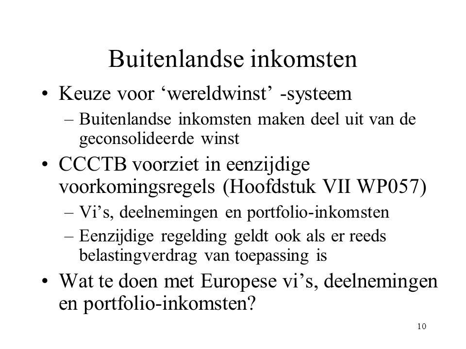 10 Buitenlandse inkomsten Keuze voor 'wereldwinst' -systeem –Buitenlandse inkomsten maken deel uit van de geconsolideerde winst CCCTB voorziet in eenz