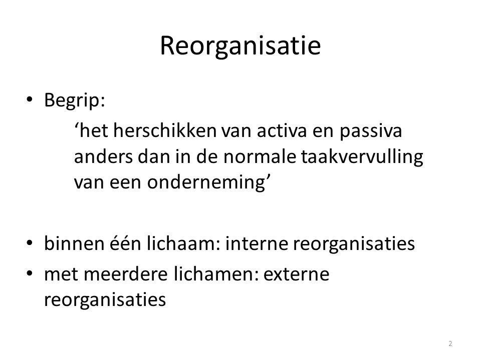 2 Reorganisatie Begrip: 'het herschikken van activa en passiva anders dan in de normale taakvervulling van een onderneming' binnen één lichaam: intern