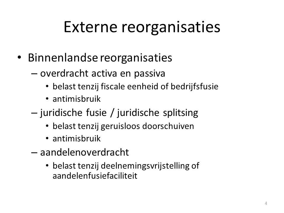 4 Externe reorganisaties Binnenlandse reorganisaties – overdracht activa en passiva belast tenzij fiscale eenheid of bedrijfsfusie antimisbruik – juri