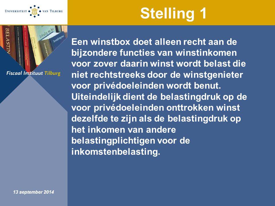 Fiscaal Instituut Tilburg 13 september 2014 Stelling 1 Een winstbox doet alleen recht aan de bijzondere functies van winstinkomen voor zover daarin winst wordt belast die niet rechtstreeks door de winstgenieter voor privédoeleinden wordt benut.