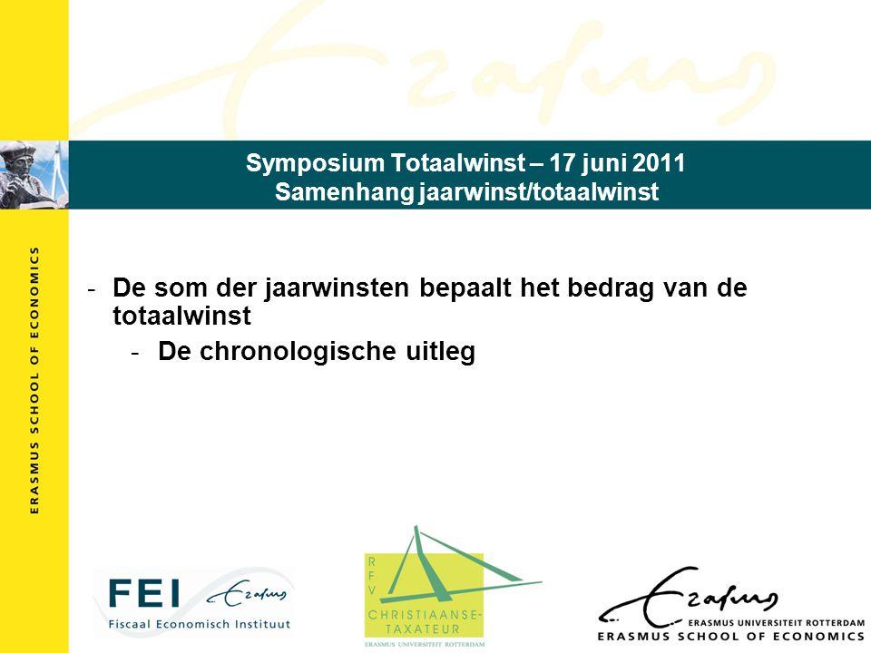 Symposium Totaalwinst – 17 juni 2011 Samenhang jaarwinst/totaalwinst -De som der jaarwinsten bepaalt het bedrag van de totaalwinst -De chronologische uitleg
