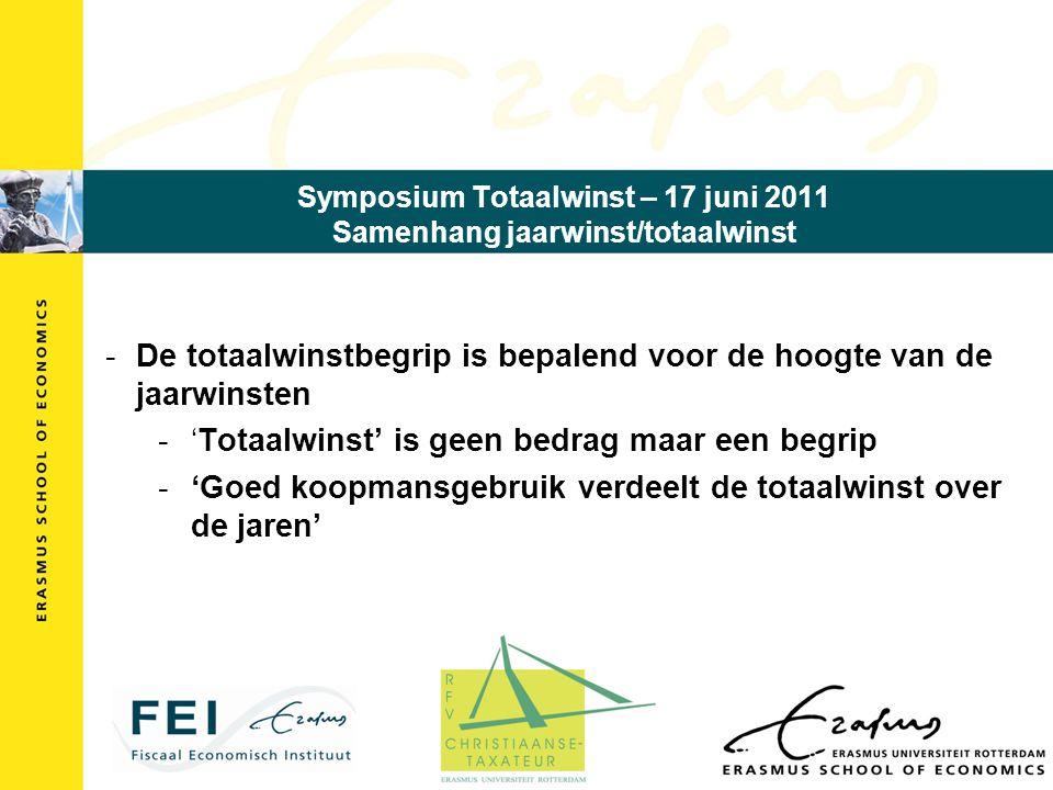 Symposium Totaalwinst – 17 juni 2011 Samenhang jaarwinst/totaalwinst -De totaalwinstbegrip is bepalend voor de hoogte van de jaarwinsten -'Totaalwinst' is geen bedrag maar een begrip -'Goed koopmansgebruik verdeelt de totaalwinst over de jaren'