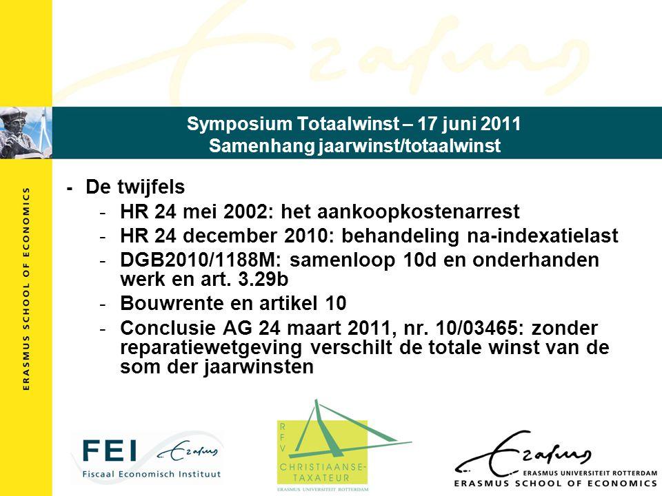 Symposium Totaalwinst – 17 juni 2011 Samenhang jaarwinst/totaalwinst - De twijfels -HR 24 mei 2002: het aankoopkostenarrest -HR 24 december 2010: behandeling na-indexatielast -DGB2010/1188M: samenloop 10d en onderhanden werk en art.