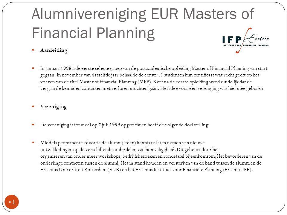 Alumnivereniging EUR MFP 2 Primair doel in 2011 van de alumni vereniging is het organiseren van Symposium Financial Planning op academisch niveau met aansprekende sprekers en het uitbereiden van het netwerk van alumni van de Mastercourse Financial Planning.