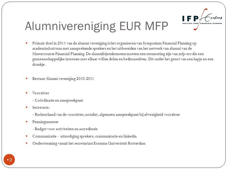 Doelstellingen 2011 3 Het realiseren van meer betrokkenheid van de leden door participatie in de vereniging via het Linkedin forum Kennisnetwerk Financiële Planning.