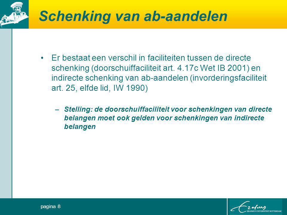 Schenking van ab-aandelen Er bestaat een verschil in faciliteiten tussen de directe schenking (doorschuiffaciliteit art. 4.17c Wet IB 2001) en indirec