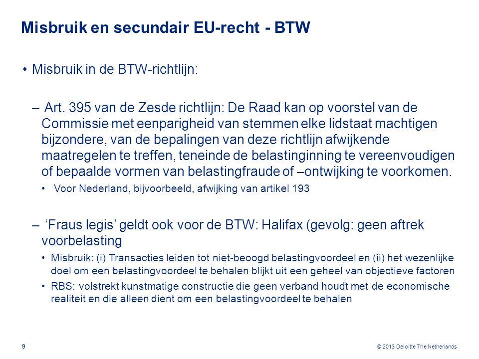 © 2013 Deloitte The Netherlands Misbruik en secundair EU-recht - BTW Misbruik in de BTW-richtlijn: – Art.