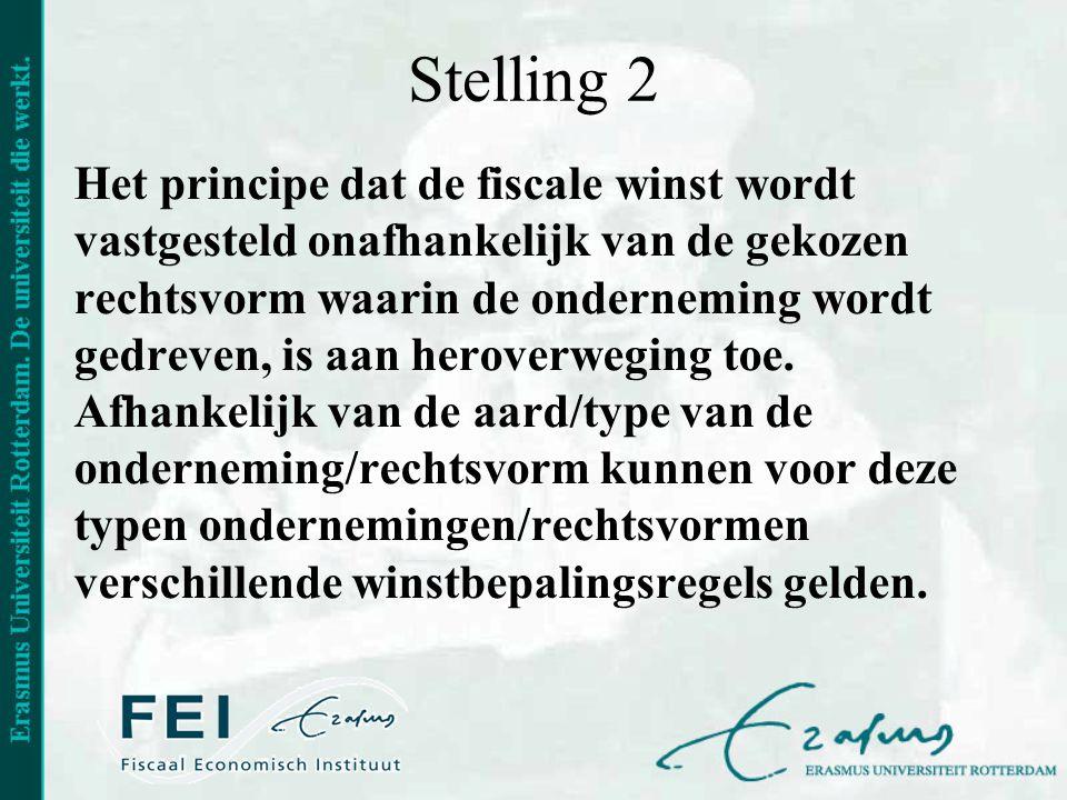 Stelling 2 Het principe dat de fiscale winst wordt vastgesteld onafhankelijk van de gekozen rechtsvorm waarin de onderneming wordt gedreven, is aan he