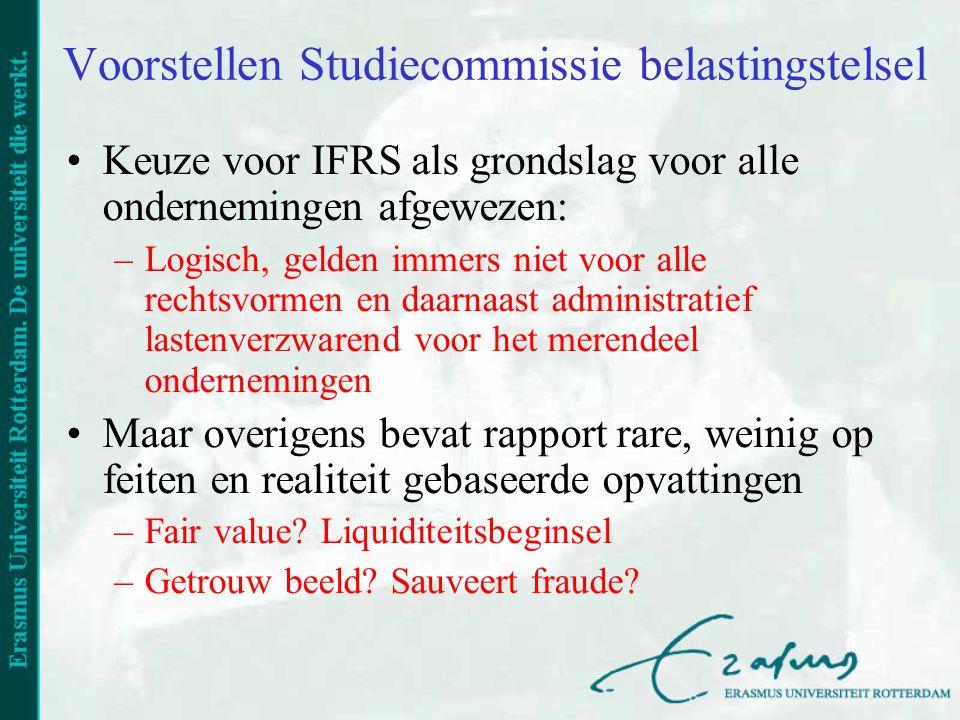 Voorstellen Studiecommissie belastingstelsel Keuze voor IFRS als grondslag voor alle ondernemingen afgewezen: –Logisch, gelden immers niet voor alle r