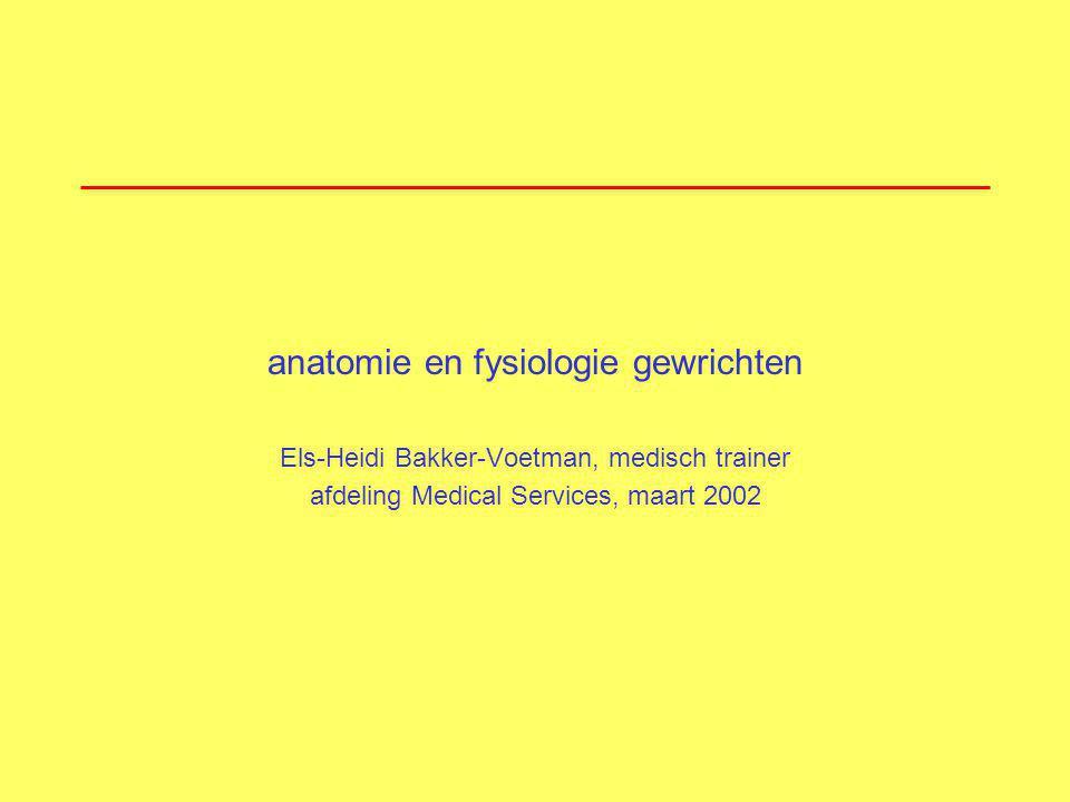 anatomie en fysiologie gewrichten Els-Heidi Bakker-Voetman, medisch trainer afdeling Medical Services, maart 2002