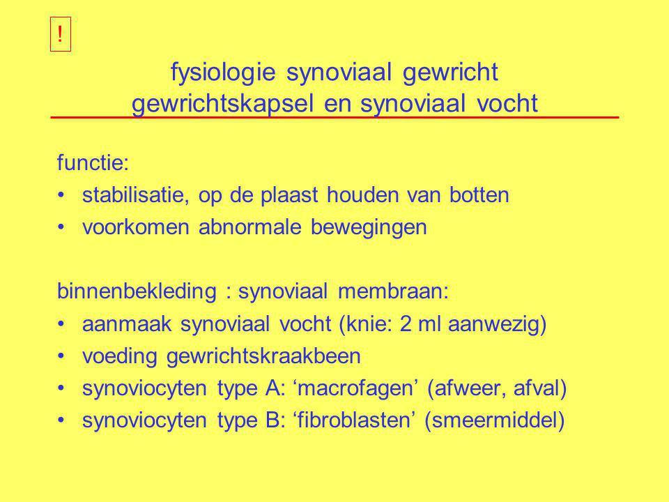 fysiologie synoviaal gewricht gewrichtskapsel en synoviaal vocht functie: stabilisatie, op de plaast houden van botten voorkomen abnormale bewegingen