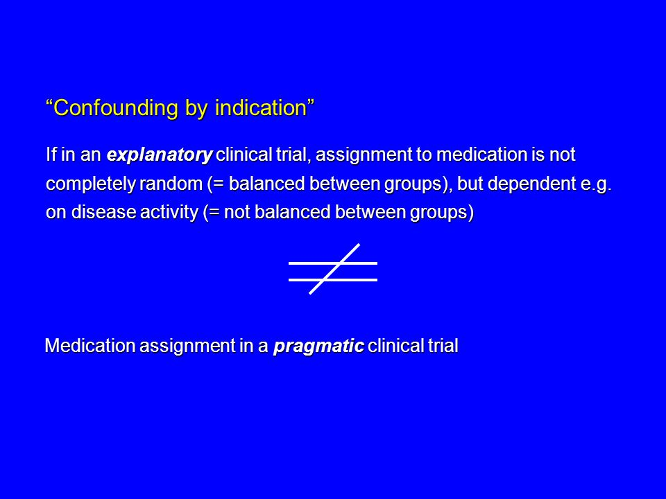 Confounding by indication If in an explanatory clinical trial, assignment to medication is not completely random (= balanced between groups), but dependent e.g.