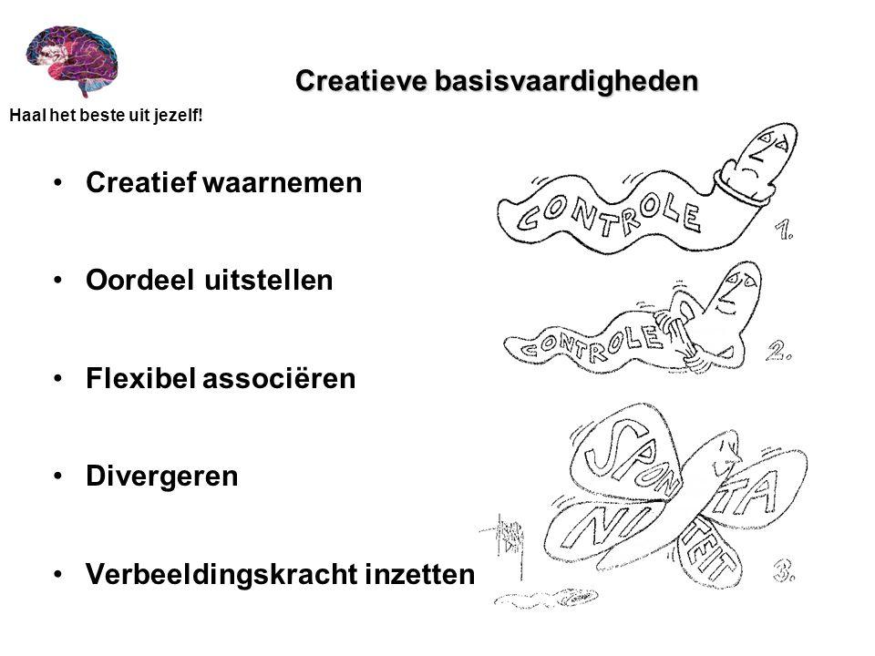 Haal het beste uit jezelf! Creatieve basisvaardigheden Creatief waarnemen Oordeel uitstellen Flexibel associëren Divergeren Verbeeldingskracht inzette