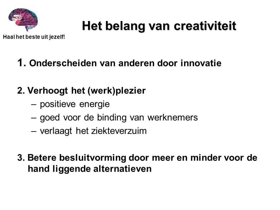 Haal het beste uit jezelf! Het belang van creativiteit 1. Onderscheiden van anderen door innovatie 2. Verhoogt het (werk)plezier –positieve energie –g