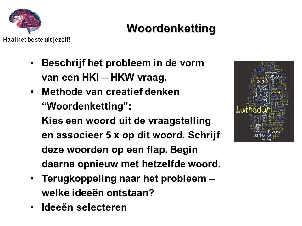 """Haal het beste uit jezelf! Woordenketting Beschrijf het probleem in de vorm van een HKI – HKW vraag. Methode van creatief denken """"Woordenketting"""": Kie"""