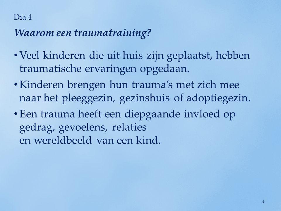Dia 5 Het trauma van een kind heeft ook invloed op ons: uitputting van mededogen; pijnlijke herinneringen; secundaire traumatisering.