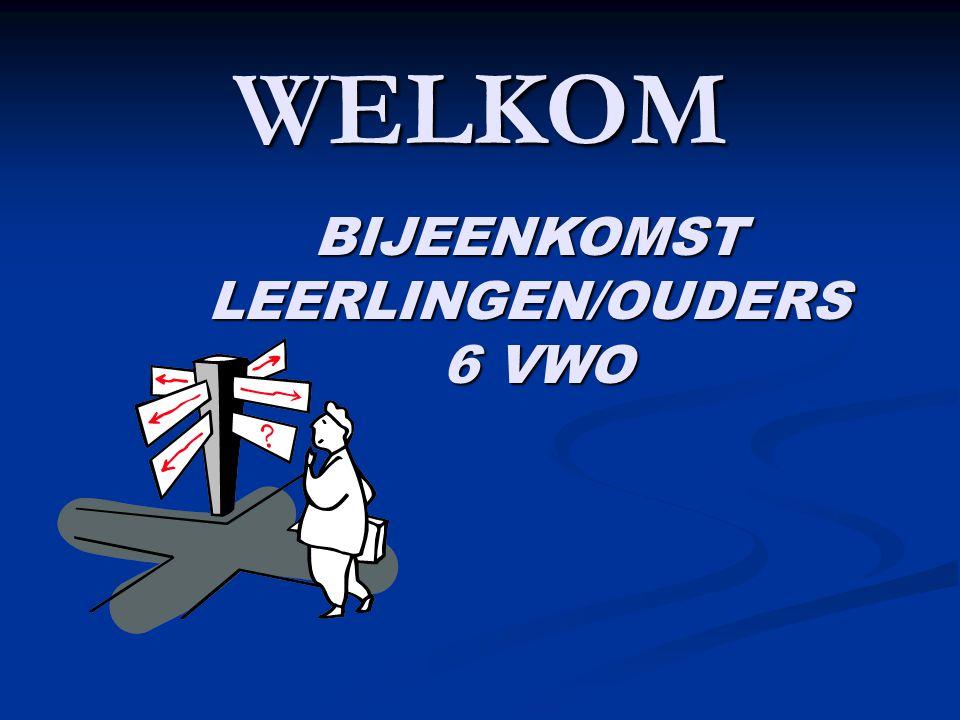 WELKOM BIJEENKOMST LEERLINGEN/OUDERS 6 VWO 6 VWO