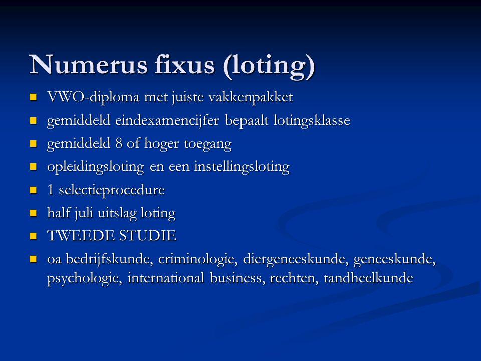 Numerus fixus (loting) VWO-diploma met juiste vakkenpakket VWO-diploma met juiste vakkenpakket gemiddeld eindexamencijfer bepaalt lotingsklasse gemidd